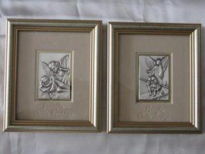 Srebrne obrazki z Aniołem Stróżem