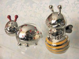 Skarbonki posrebrzane - pszczółka i biedronka