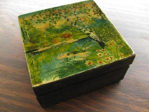 Pudełko drewniane z dekorowanym wieczkiem - różne rozmiary