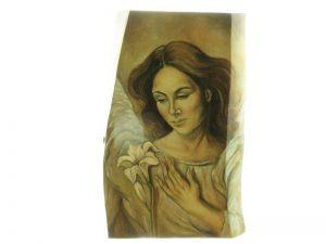 Anioł malowany na drewnie