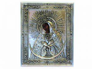 Ikona Matki Boskiej Ostrobramskiej w metalowej koszulce