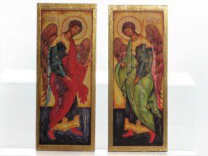 Archanioł Michał i Archanioł Gabriel - decoupage na drewnie