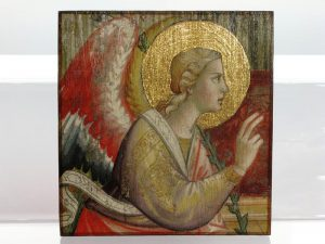 Anioł - decoupage na drewnie