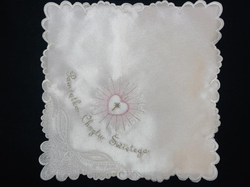 Szatka nr 12 - atłasowa, haft srebrno-różowy