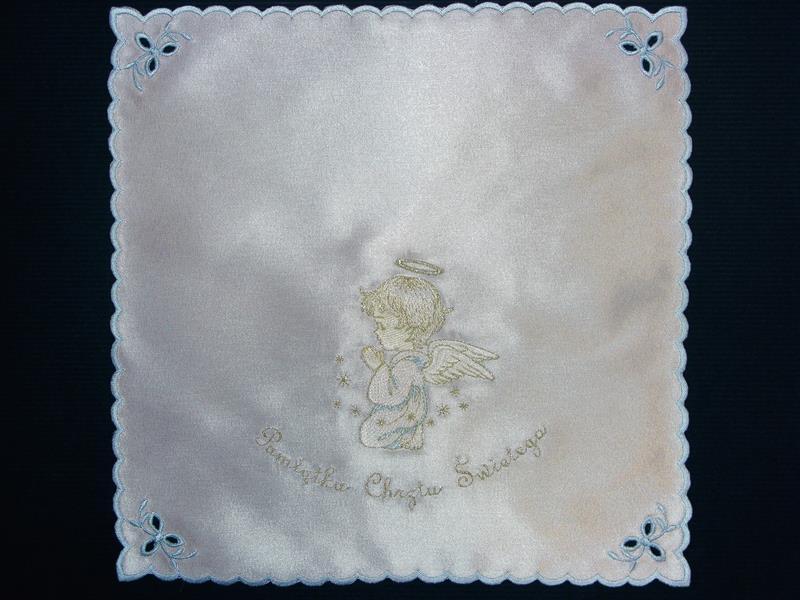 Szatka nr 14 - atłasowa, haft srebrno-niebieski