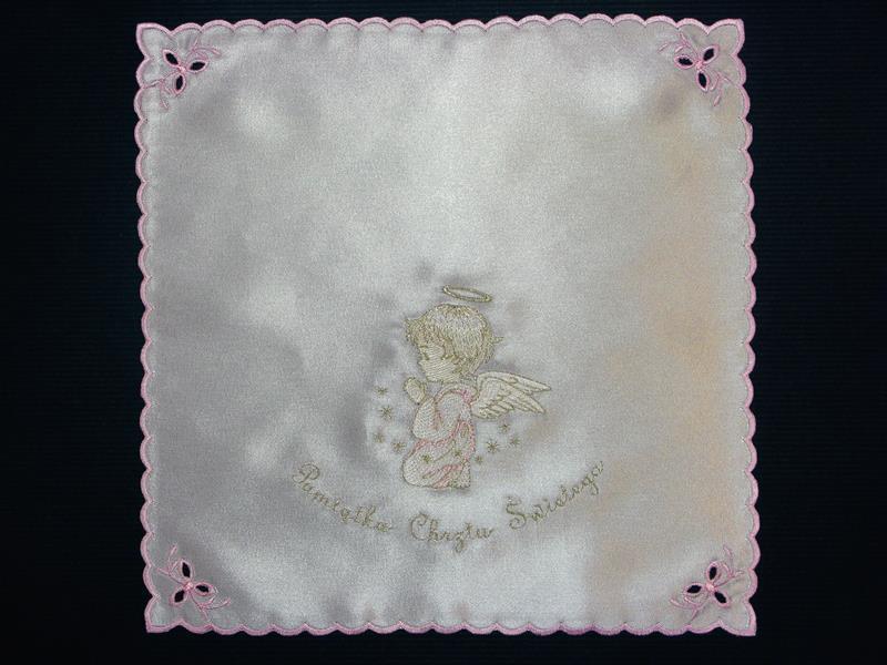 Szatka nr 14 - atłasowa, haft srebrno-różowy
