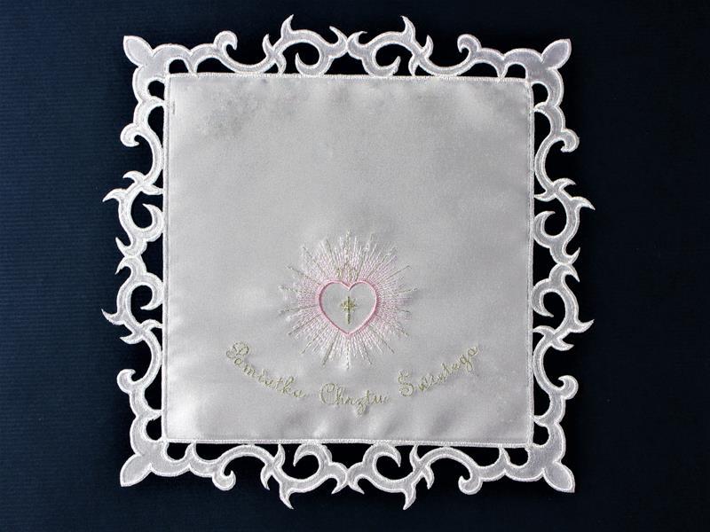 Szatka nr 10 - atłasowa, haft srebrno-różowy