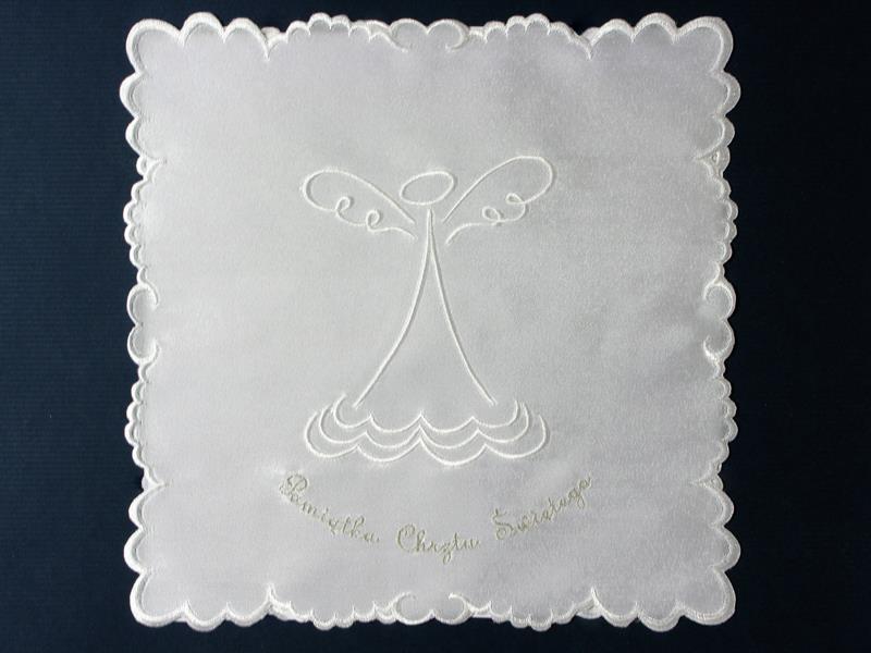 Szatka nr 11 - atłasowa, haft biało-srebrny