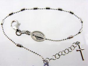 Srebrna dziesiątka różańca w formie bransoletki - więcej wzorów w zakładce Różańce i modlitewniki