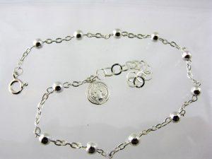 Srebrna dziesiątka różańca w formie bransoletki