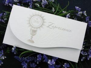 Zaproszenie ze srebrnym nadrukiem nadukiem