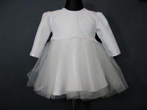 Sukienka do Chrztu z tiulową spudnicąW komplecie z kapelusikiem