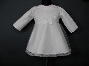 Sukienka do Chrztu z tiulem i koronkąW komplecie z kapelusikiem