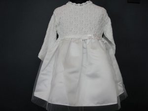 Sukienka do Chrztu z dzianiny łączonej z tkaniną
