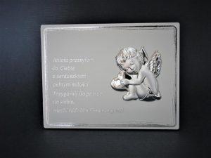 Obrazek z posrebrzanym aniołkiem na panelu MDF