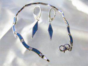 Srebrne kolczyki i bransoletka z opalem